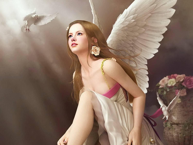 Обои Девушка с крыльями ангела смотрит на белого голубя.