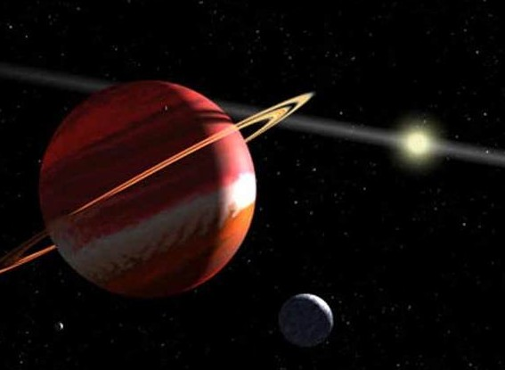 Это художественное изображение экзопланеты Ипсилон Эридана b. Возможно гипотетическая планета Тюхе выглядит так же. Иллюстрация NASA, ESA, G.F. Benedict (University of Texas, Austin)