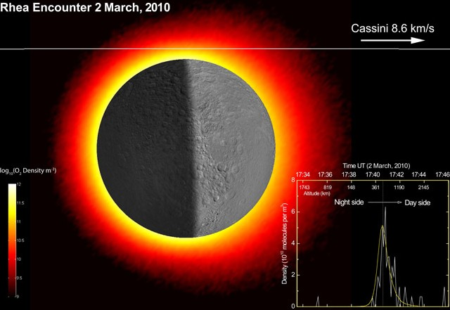 Компьютерная модель распределение газа на ночной и дневной стороне Реи. Фото Science/AAAS