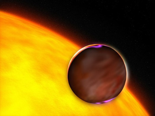 Горячий Юпитер, обращающийся вокруг своей звезды. Иллюстрация NASA