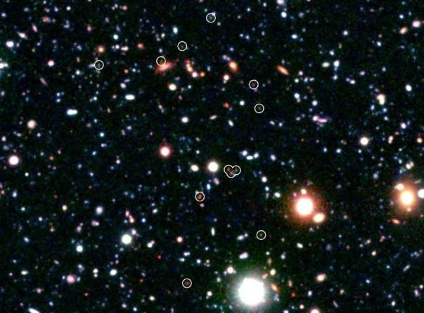 Скопление галактик COSMOS-AzTEC3. Фото Subaru / NASA / JPL-Caltech