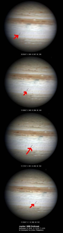 Серия фотографий Юпитера, выполненных Кристофером Го.