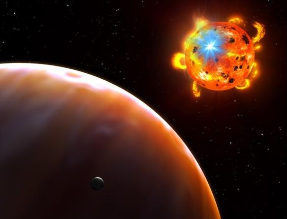 Система красного карлика во время вспышки на нем. Иллюстрация NASA, ESA, and G. Bacon (STScI)