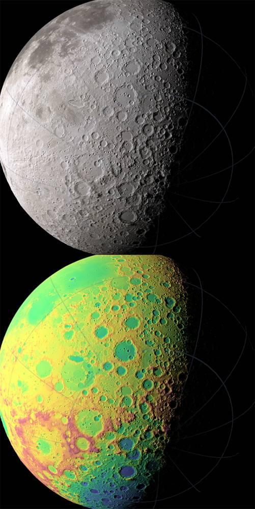 Южное полушарие Луны выполненное в естественных и искусственных цветах. Красным цветом показаны более высокие участки местности, синим,низины рельефа Луны. Иллюстрация NASA/GSFC/MIT/SVS