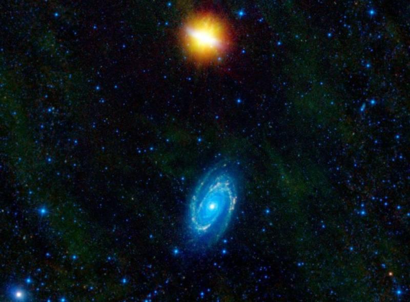 Взаимодействующие галактики М81 и М82 глазами телескопа WISE