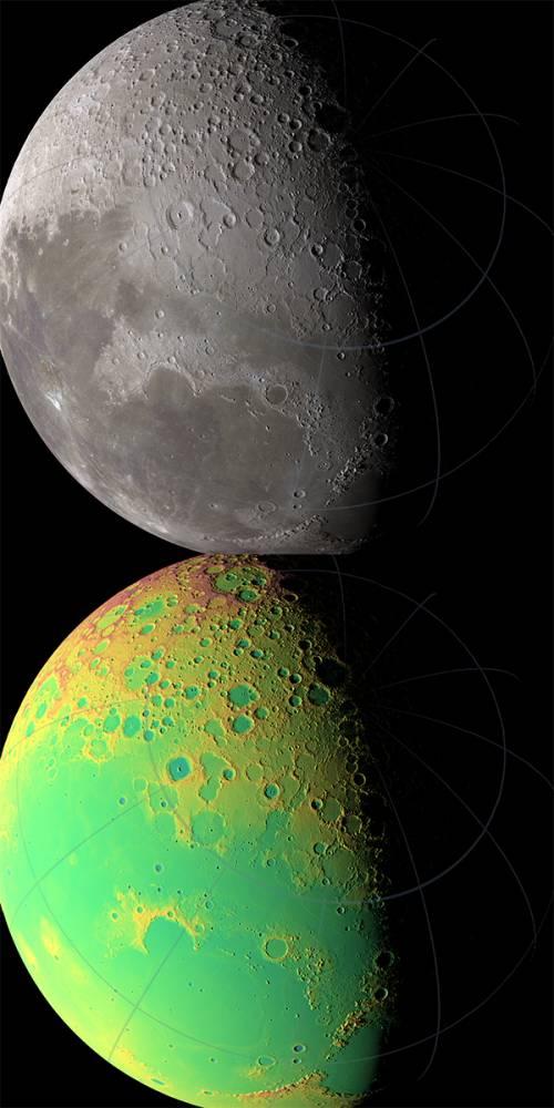 Северное полушарие Луны. Иллюстрация NASA/GSFC/MIT/SVS