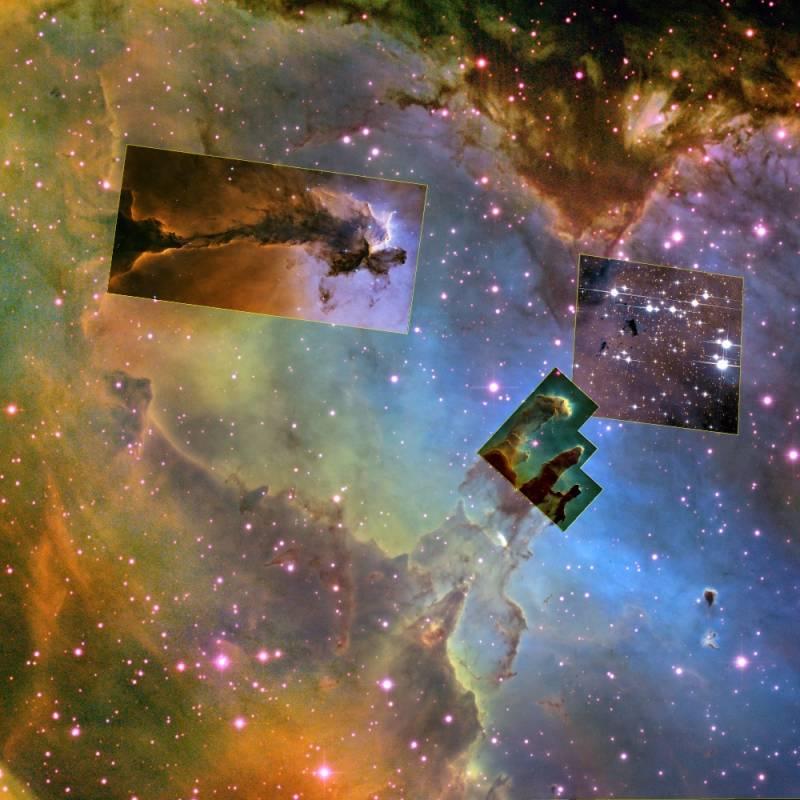 Общий вид туманности. Фото NASA, eSTScI, NOAO, AURA, WikiSky.
