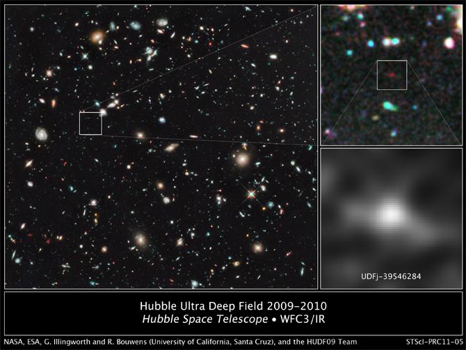 Древняя галактика UDFj-39546284 находится на расстоянии 13,2 миллиарда световых лет от Земли.