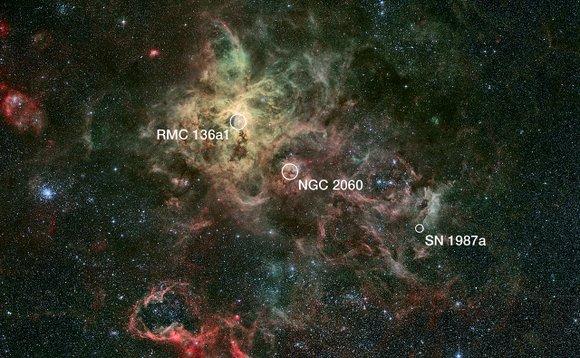 Наиболее значимые объекты в туманности. Иллюстрация NASA, ESA