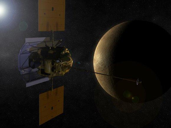 «Мессенджер» на орбите Меркурия глазами художника. Иллюстрация NASA