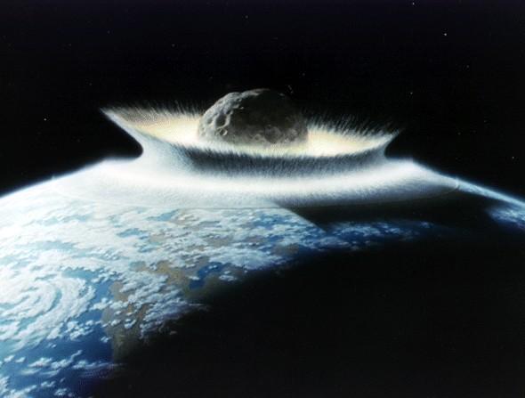 Столкновение астероида с Землей. Иллюстрация NASA