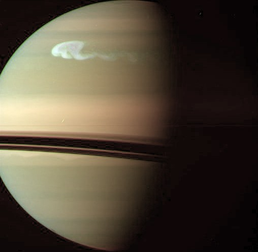 Шторм на Сатурне. Снимок «Кассини» сделанный 24 декабря 2010 года. Фото NASA/JPL/Space Science Institute.