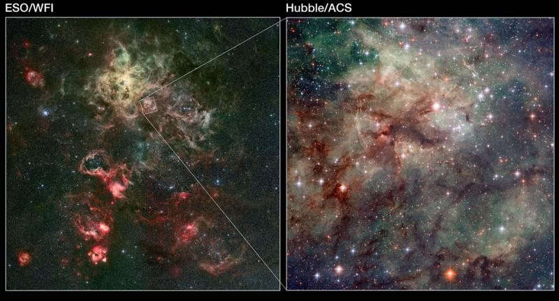 Месторасположение нового снимка с «Хаббла» на общем плане туманности NGC 2070. Иллюстрация NASA, ESA, ESO