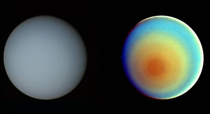 Эти две фотографии Урана - одна в естественном(слева), а другая в искусственных цветах получено 17 января 1986 года камерой «Вояджера-2». Изображение: NASA / JPL