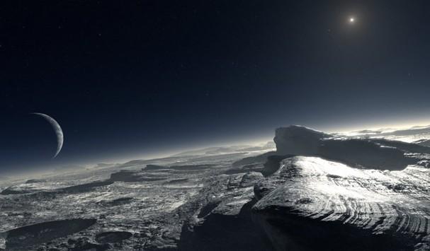 Поверхность Плутона глазами художника. Иллюстрация ESO/L. Calcada