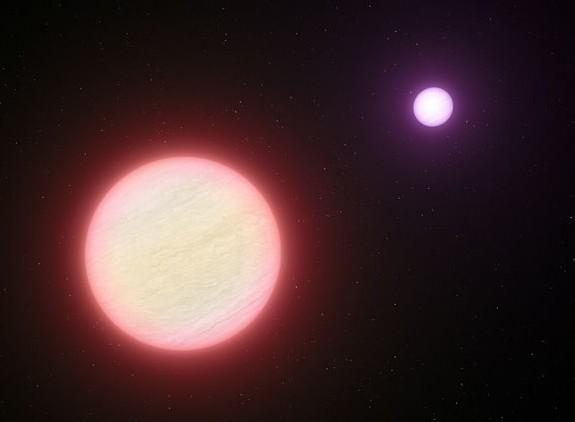 Система из пары коричневых карликов CFBDSIR 1458+10 глазами художника. Иллюстрация ESO/L. Calсada
