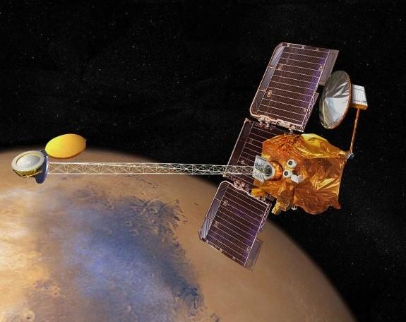 Орбитальный аппарат Mars Odyssey. Иллюстрация NASA