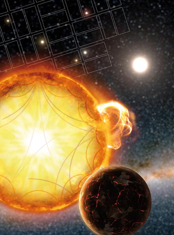 На иллюстрации вверху показано поле наблюдения звезд детекторами телескопа «Кеплер» , а ниже схема распространения волн, ответственных за вариации яркости, под поверхностью звезды. Иллюстрация Science/AAAS; courtesy of G. Perez, IAC, SMM