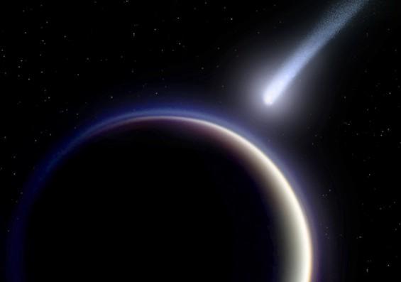 Кометы могли создать атмосферу на Титане. Иллюстрация с сайта www.universetoday.com