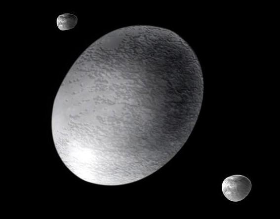 Хаумеа и спутники глазами художника. Иллюстрация A. Feild (STScI)