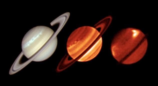 На иллюстрации слева снимок Сатурна в видимом свете, сделанный австралийским астрономом-любителем Тревором Барри. В центре и справа инфракрасные снимки телескопа VLT Фото ESO / Univ. of Oxford / T. Barry.)