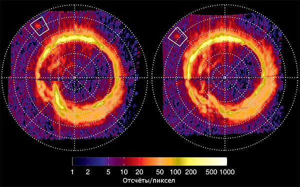 В квадрате авроральный след Энцелада на северном полюсе Сатурне. Конечно, след выглядит намного уступает «обычному» авроральному овальному свечению Сатурна. Данные сделаны с промежутком в 80 минут. Иллюстрация NASA / JPL / University of Colorado / Central Arizona College