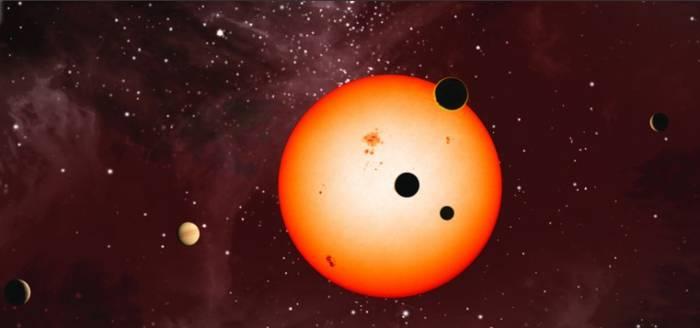 Планетная система звезды Kepler-11 состит из шести планет. Иллюстрация Nature