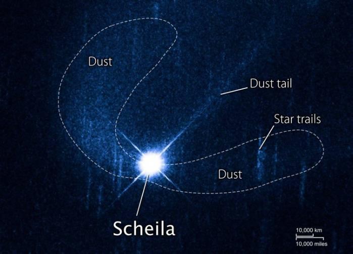 """Астероид 596 Scheila и его """"хвосты"""" глазами телескопа Хаббл. Фото NASA/ESA/D. Jewitt (UCLA)"""