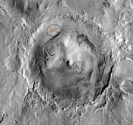 Кратер Гейла. На снимке отмечено предполагаемое место высадки марсохода.