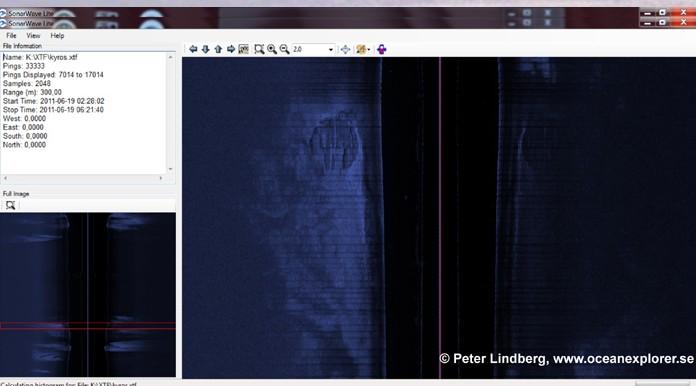 Объект на экране гидролокатора. Фото с сайта www.oceanexplorer.se