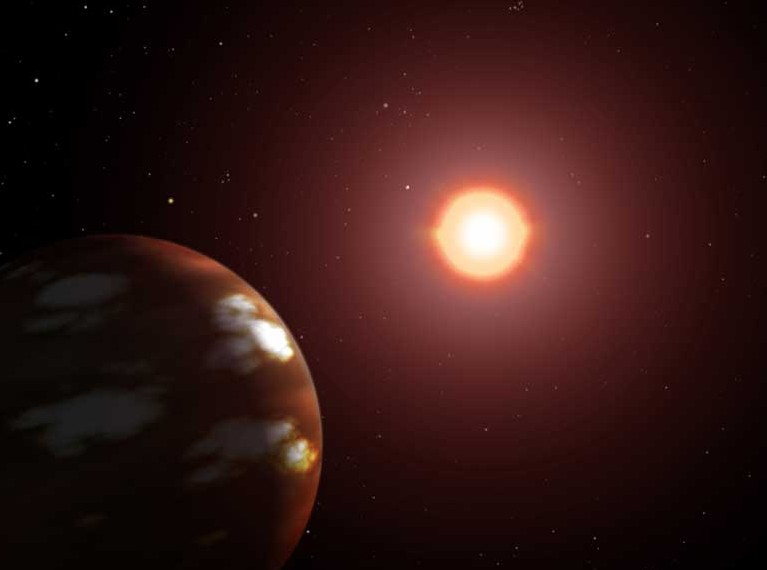 Горячий Нептун обращающийся вокруг звезды Gliese 436 глазами художника. Иллюстрация NASA