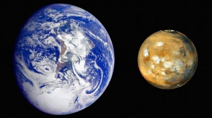 Сравнительные размеры Земли и Марса. Иллюстрация NASA
