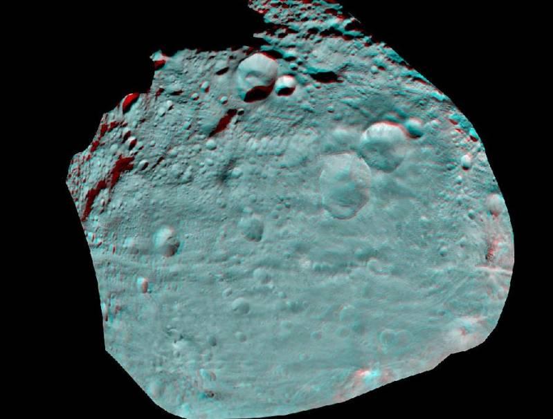 Астероид Веста в 3D. Для просмотра изображения воспользуйтесь стереоочками (анаглифическими). Фото NASA / JPL-Caltech / UCLA / MPS / DLR / IDA