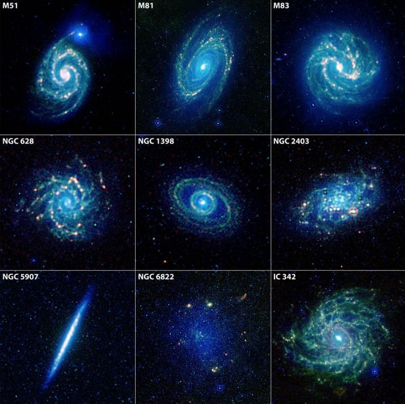 Галактики в инфракрасном диапазоне. Фото NASA/JPL-Caltech/WISE Team