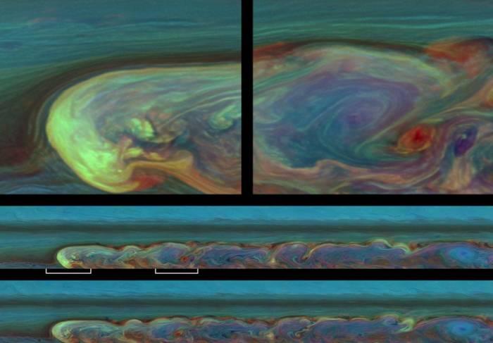 Изображение шторма в псевдоцветах. Снимок сделан 12 недель спустя после его обнаружения. Фото NASA / JPL-Caltech / SSI