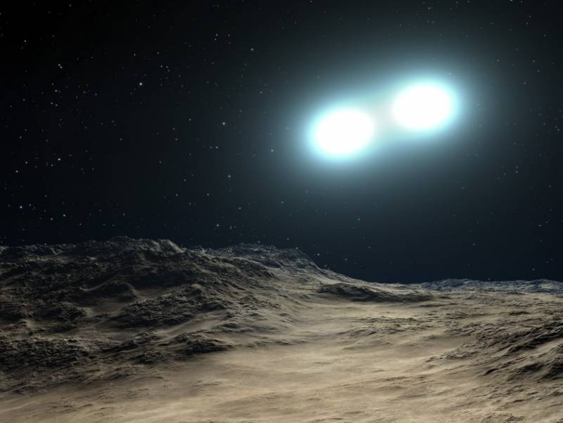 Иллюстрация показывает тесную пару звезд, которые готовы слится, образовав голубую отставшую звезду. Иллюстрация NASA, ESA, and G. Bacon (STScI)
