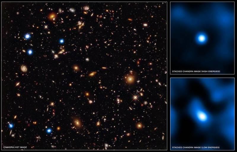 Рентгеновский снимок участка неба CDFS, совмещенный с данными «Хаббла». Справа показаны результаты сложения рентгеновских данных по отдельным удаленным источникам. Фото NASA/STScI/UC Santa Cruz/G.Illingworth et al; Optical: NASA/STScI/S.Beckwith et al