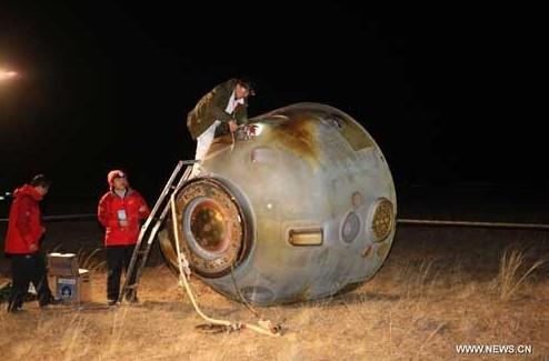 Спускаемая капсула космического корабля «Шэнчжоу-8». Фото Xinhua/Li Gang