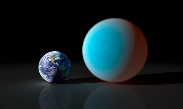 Сравнительные размеры Земли и 55 Cancri e. Иллюстрация NASA