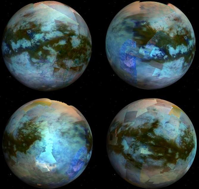 Глобальная мозаика поверхности Титана, созданная из инфракрасных снимков спектрометра VIMS, показывает разнообразие ландшафта Титана. (Цветовое кодирование: красный = 5 мкм, зеленый = 2,0 мкм, синий = 1,27 мкм). Иллюстрация JPL/NASA/Univ. of Arizona/CNRS/LPGNantes