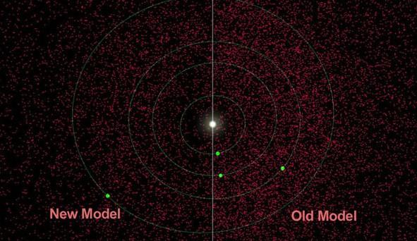 Слева на иллюстации, новая версия плотности астероидов. Для примера, справа, дана старая версия. Белым обозначено Солнце, зелеными точками - планеты, красными - астероиды. Иллюстрация NASA/ JPL-Caltech.