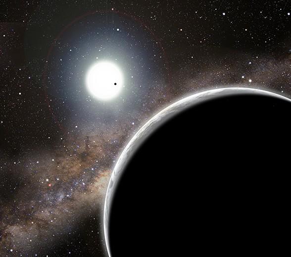 Система Kepler-19 глазами художника. Вблизи: планета-невидимка Kepler-19c, на фоне звезды: Kepler-19b. Иллюстрация David A. Aguilar (CfA)