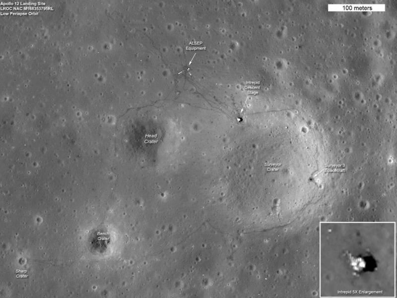 Район посадки «Apollo-12». Фото NASA/GSFC/Arizona State University
