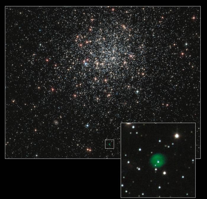 Шаровое скопление NGC 1846. Отдельно выделена планетарная туманность Фото NASA and The Hubble Heritage Team (STScI/AURA)