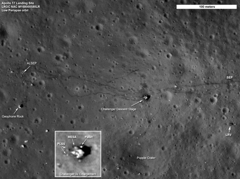 Зонд LRO сделал качественные снимки районов посадок миссий Apollo (3 фото)
