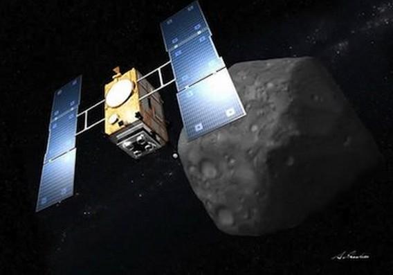 Хаябуса-2 у астероида 1999 JU3. Иллюстрация Akihiro Ikeshita/JAXA