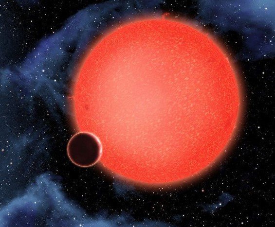 Система GJ 1214. Иллюстрация ASA, ESA, and D. Aguilar (Harvard-Smithsonian Center for Astrophysics)
