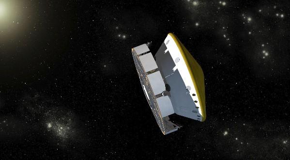 Космический аппарат с марсоходом Curiosity. Иллюстрация NASA/JPL-Caltech