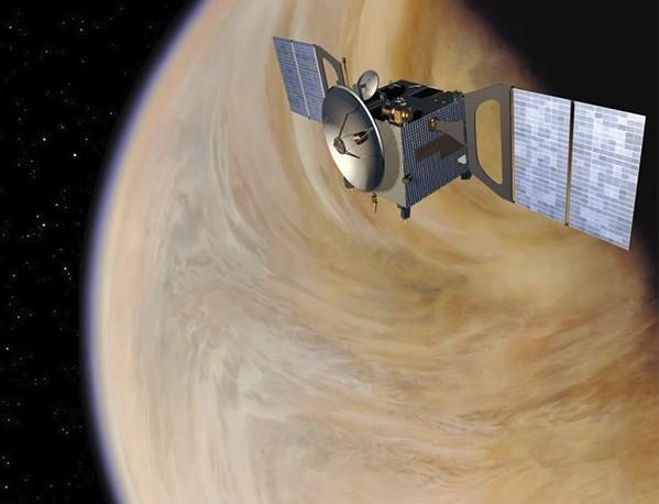 Космический аппарат Venus Express на орбите Венеры. Иллюстрация ESA/AOES Medialab.