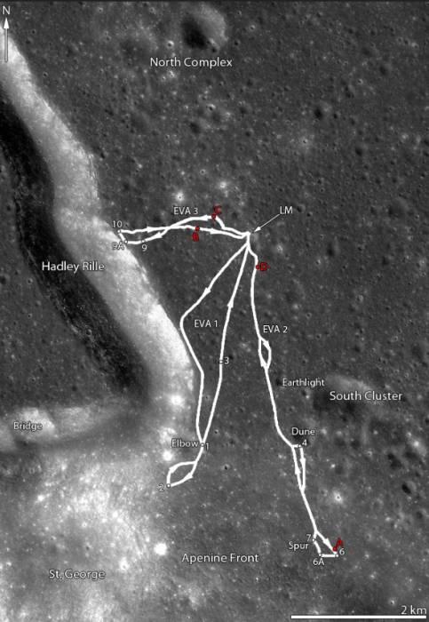 Карта передвижения лунного автомобиля.Фото NASA/GSFC/Arizona State University